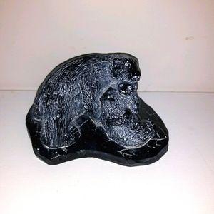 Vintage AARDVARK carved soap stone black polarbear